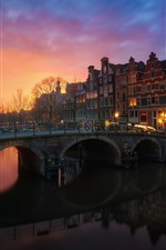 Preview iPhone wallpaper Amsterdam, Netherlands, houses, trees, river, bridge, lights, night