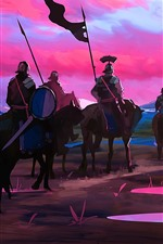 Preview iPhone wallpaper Art picture, knights, horses, sunset, mountains, river