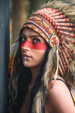 Preview iPhone wallpaper Beautiful Indian girl, decoration, feathers, paint