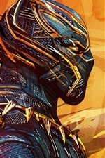 Preview iPhone wallpaper Black Panther, superhero, mask, art picture