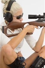 Blonde girl, sniper, rifle