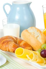 Preview iPhone wallpaper Bread, grapes, orange juice, egg, milk, breakfast