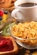 Breakfast, cereal, coffee, bread, fruit salad
