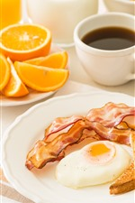 Preview iPhone wallpaper Breakfast, egg, bread, coffee, oranges