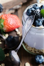 Breakfast, yogurt, oatmeal, blueberries
