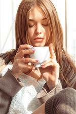 Preview iPhone wallpaper Brown hair girl, drink coffee, sunshine, window