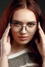 Preview iPhone wallpaper Brown hair girl, glasses, look