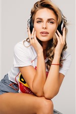 Preview iPhone wallpaper Brown hair girl listen music, headphone