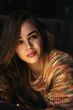 Preview iPhone wallpaper Brown hair girl, look, pose, sweater