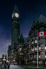Canada, Toronto, city, buildings, flag, dusk