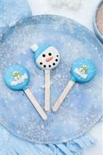 Preview iPhone wallpaper Candy, snowflakes, scarf, mittens, hot chocolate, marshmallows