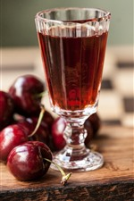 Preview iPhone wallpaper Cherries, glass cup, wine