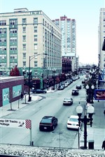 Chicago, city, road, buildings, USA