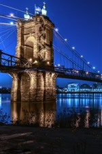 Preview iPhone wallpaper Cincinnati, city, bridge, river, lights, night