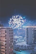 City, night, buildings, snow, fireworks, winter