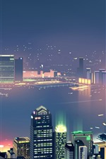 City night, skyscrapers, river, fog, lights, art picture