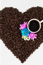 Preview iPhone wallpaper Coffee beans, love heart, cup, pink and blue flowers