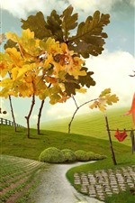 Creative picture, house, trees, fence, green fields