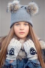 Menina bonitinha, chapéu, cabelos longos, luvas