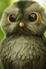 Preview iPhone wallpaper Cute little owl, green background