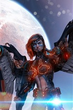 Preview iPhone wallpaper Cyborg, angel, wings, planet, creative picture