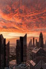 iPhone обои Дубай, небоскребы, красное небо, облака, закат