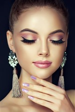 Preview iPhone wallpaper Fashion girl, close eyes, earring, black background
