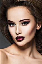 Fashion girl, red lip, hairstyle, makeup