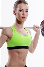 Preview iPhone wallpaper Fitness girl, athlete, pose, white background