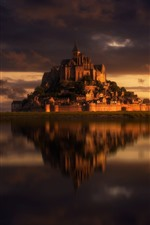 Preview iPhone wallpaper France, Mont-Saint-Michel, island, castle, sea, dusk, Normandy