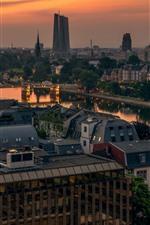 Preview iPhone wallpaper Germany, Frankfurt, city, river, bridge, morning
