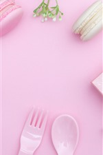 Preview iPhone wallpaper Gift, macaron, flowers, fork, spoon, pink background
