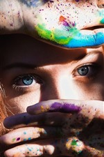 Preview iPhone wallpaper Girl, face, hands, colorful paint