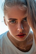 Preview iPhone wallpaper Girl, look, hair, freckles