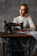 Preview iPhone wallpaper Girl use sewing machine, retro style
