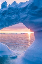 Preview iPhone wallpaper Glacier, ice, sea, sunset