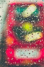 Glass, water droplets, rain, car, night