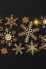 Flocos de neve dourados, imagem criativa