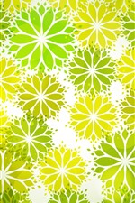 Preview iPhone wallpaper Green and yellow abstract flowers, creative picture