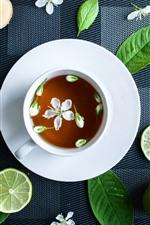 iPhone壁紙のプレビュー グリーンレモン、紅茶、カップ、白いジャスミンの花
