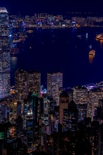 Hong Kong, city night, skyscrapers, lights, sea