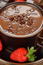 Preview iPhone wallpaper Hot chocolate, strawberries, dessert