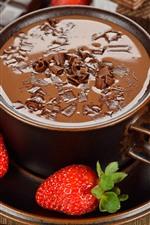 Hot chocolate, strawberries, dessert