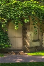 Preview iPhone wallpaper House, arch door, green plants covered