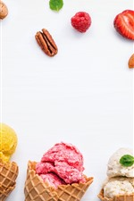 Preview iPhone wallpaper Ice cream, strawberry, blueberry, white background