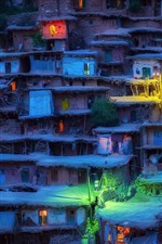 Preview iPhone wallpaper Iran, slums, houses, village, lights, night