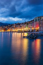 Preview iPhone wallpaper Italy, Ligurian sea, Camogli, night, city, lights, houses