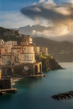 Preview iPhone wallpaper Italy, city, sea, mountains, clouds, sky