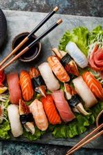 Preview iPhone wallpaper Japanese food, sushi, food, tea