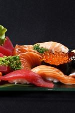 Comida japonesa, carne, sushi, caviar